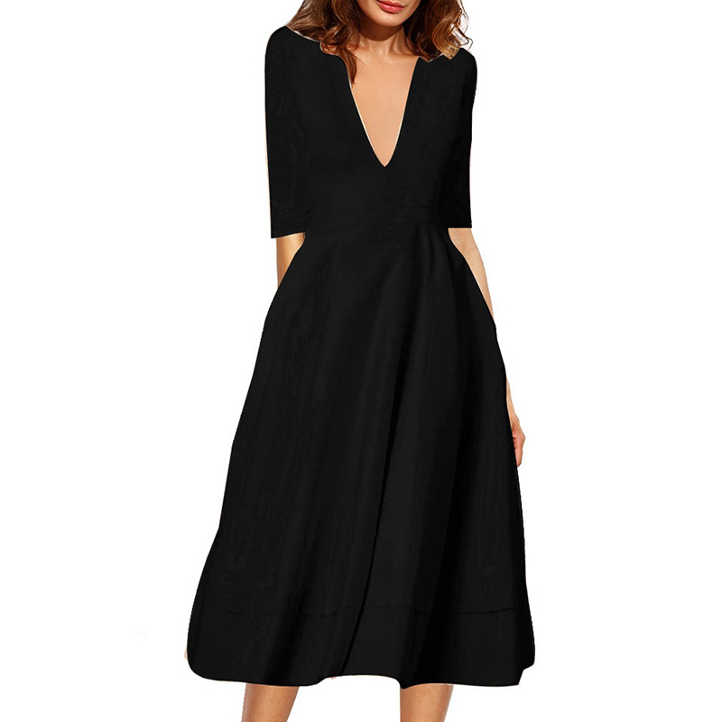 2018 autumn new women 39 s high end sexy deep V middle sleeve long Lady Dress in Dresses from Women 39 s Clothing