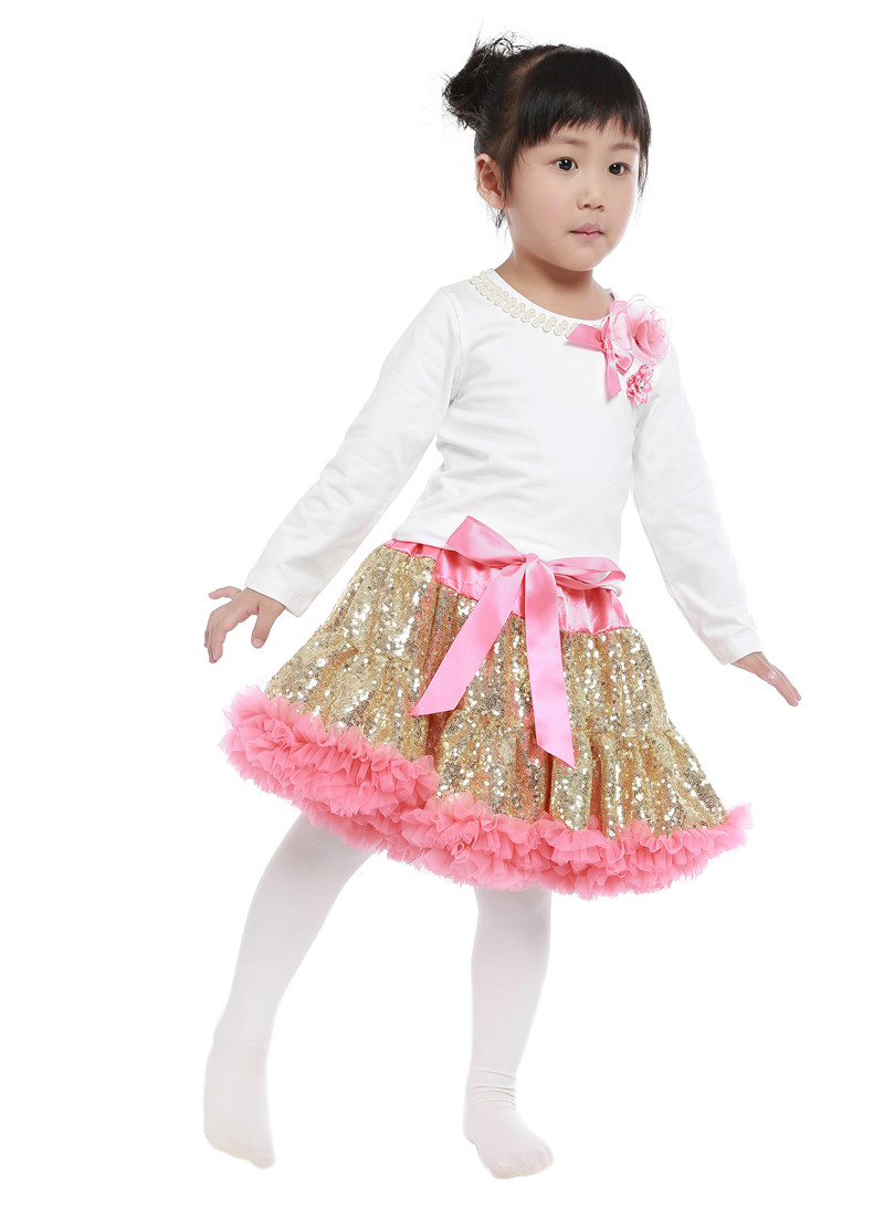 Hot sale Girls 2 Pcs Set Tutu Dress Sets Clothing cotton top + sequined skirts suit baby girls clothing sets clothes hot sale cotton solid men tank top