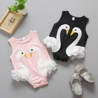 Everweekend Baby Girls Lace Swans Rompers Toddler Kids Pink and Black Color Clothing Cute Infant Baby Clothes