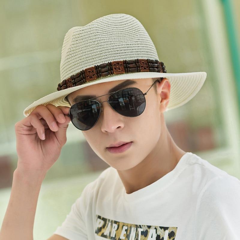 4d54fc02184 Straw Men Sun Hat Solid Boys Casual Panama Mens Beach Cap Visor Cowboy Hats  Cheap Block Portable Sunhat Gardener Wide Brim-in Holidays Costumes from  Novelty ...