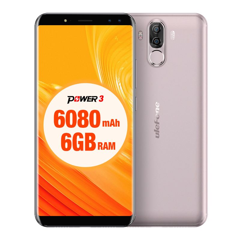 Ulefone Power 3 6.0 Inch18:9 FHD Octa Core Smartphone 6080mAh Android 7.1 6GB RAM 64GB ROM 21MP Quad Camera Face ID 4G Cellphone