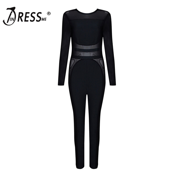 Free Shipping 2017 New Arrival Autumn Fashion Sexy Style Hot Sale Black Color Long Sleeve Evening Party Bandage Jumpsuit