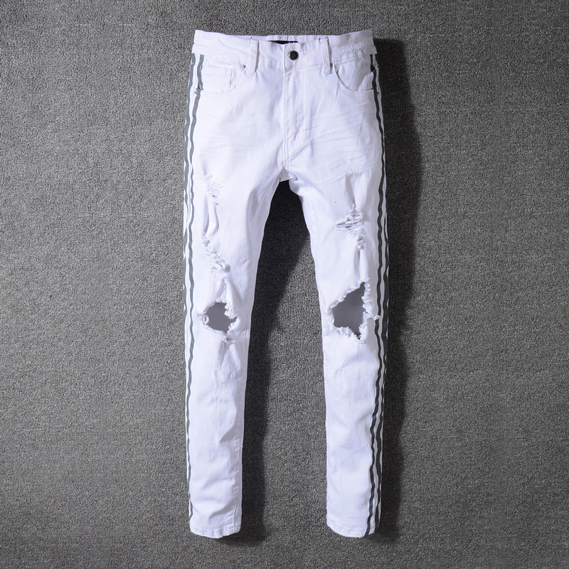 High Street Fashion Stripe Printed Jeans Men White Color Skinny Fit Elastic Ripped Jeans Stretch Hip Hop Pants Punk Jeans Homme men elastic foot drawstring jeans