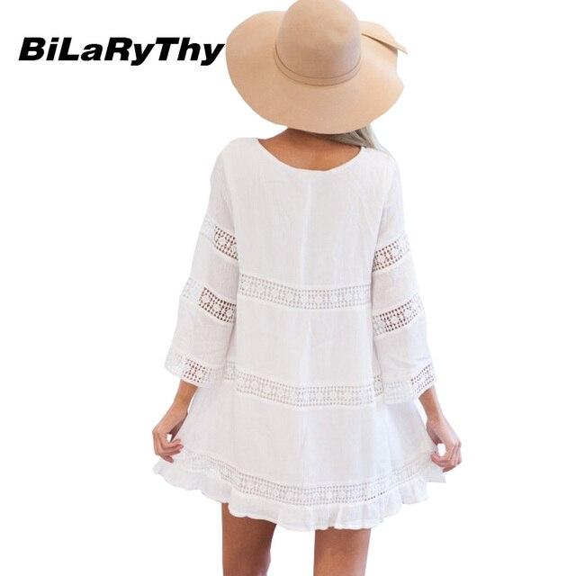 Spring Autumn Women White Mini Casual Dress Sexy O Neck Three Quarter Sleeve Lace Spicing Loose Beach Dresses