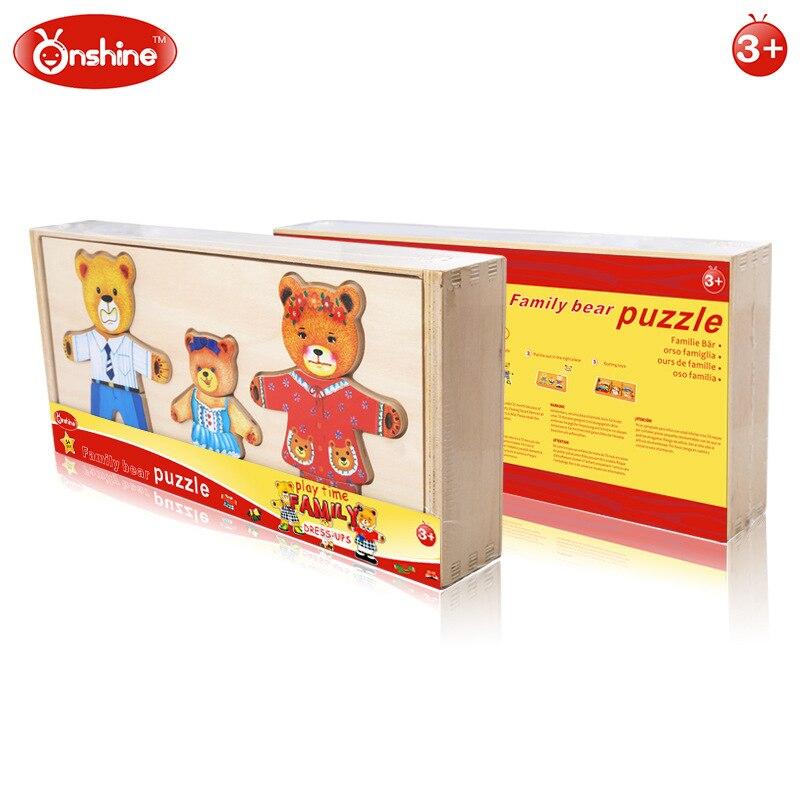 Onshine 54 шт./компл. Игрушки для маленьких детей деревянный дес до Семья медведь/животного туалетный головоломки детское платье изменение обра...