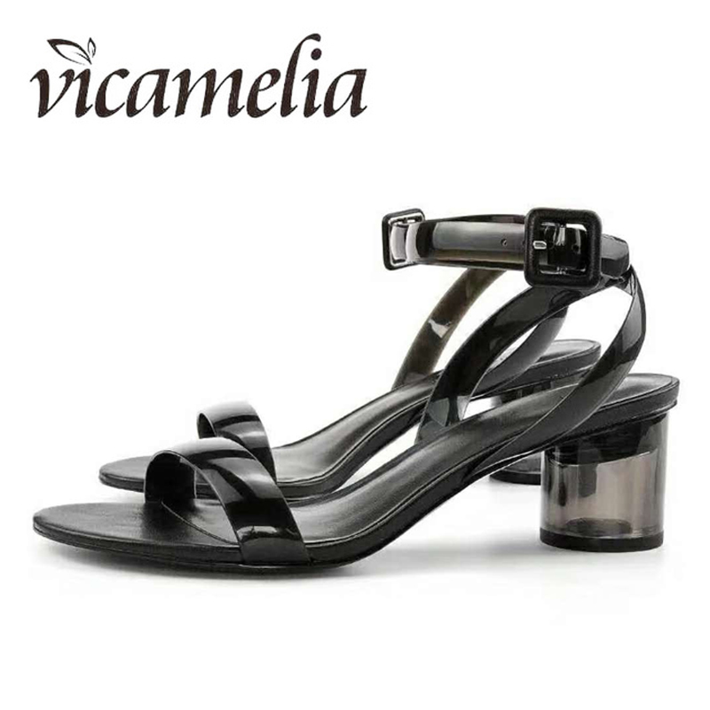 Vicamelia PVC Jelly Heel Sandals Ladies Transparente Clear Classic - Zapatos de mujer