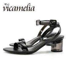 Vicamelia PVC Jelly Heel Sandal Wanita Transparan Batal Klasik Sepatu Eropa Blok Tumit Lucite Peep Toe Buckle Sandal 104