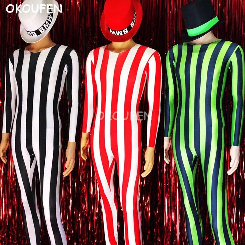 Fashion Fluorescent Striped Bodysuits Stage Show Jazz Party Dress Costume Nightclub Bar Male Singer Dj performance clothing