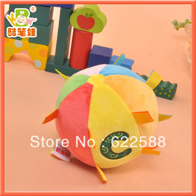 2013 Wholesale plush baby rattle toy soft ball toy plush stuffed multicolor toys