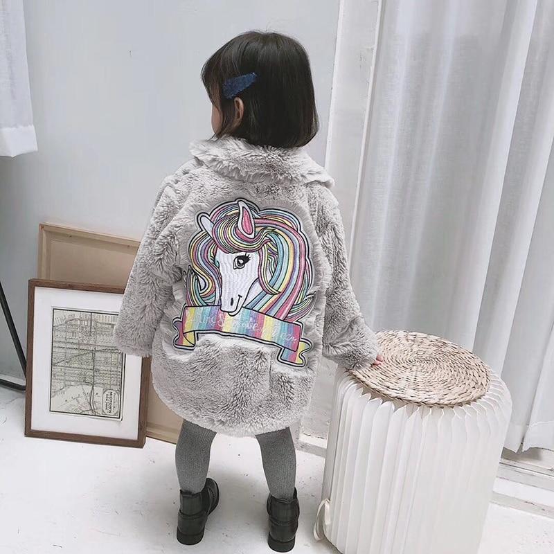 1-10Y Kids Girls Fur Coat Warm Faux Fur Jackets Unicorn Embroidery Baby Girls Rabbit Fur Coat For Girls Winter Children Snowsuit pearl beading faux fur pocket ribbed dress
