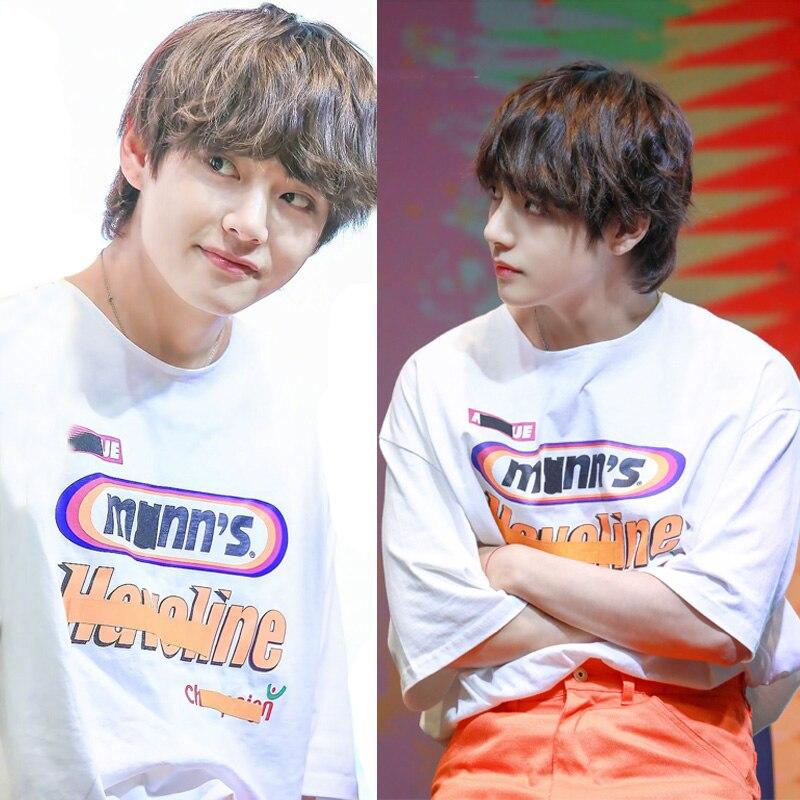 Kpop V The Same Style Short Tshirts Women/Men 100% Cotton Korean Group T-shirt Women T Shirts Tops Clothes 4XL bts v warriors jacket