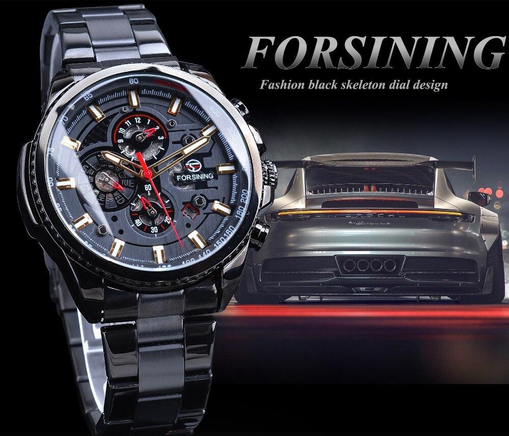 Forsining 2019 clássico relógio preto série steampunk