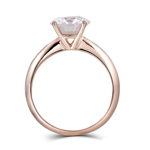 Image 2 - DovEggs Solid 14K 585 Rose Gold 2.5ct carat 8.5mm F Color Lab Created Moissanite Diamond Solitaire Engagement Rings For Women