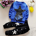 Children Clothing Sets New 2016 Autumn Long Sleeved Five-pointed Star Tassel Sweatshirts + Print Pants 2 Piece CLS074