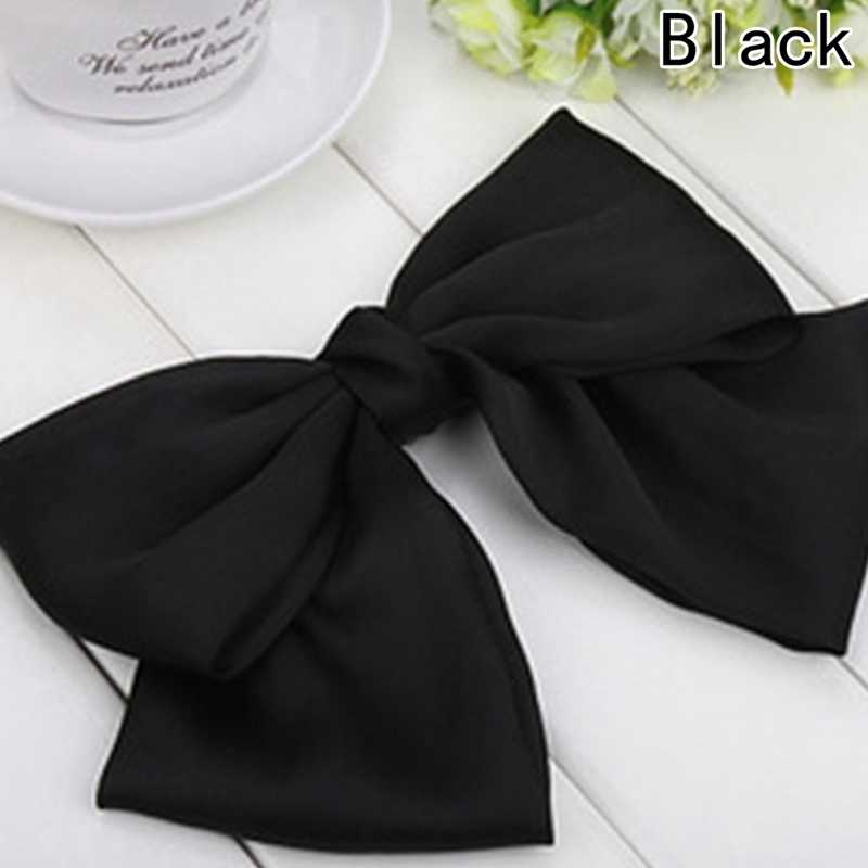 New Fashion Quality Big Large Beautiful Girls' Silk Bow Barrette Hair Clips Women Hair Accessories