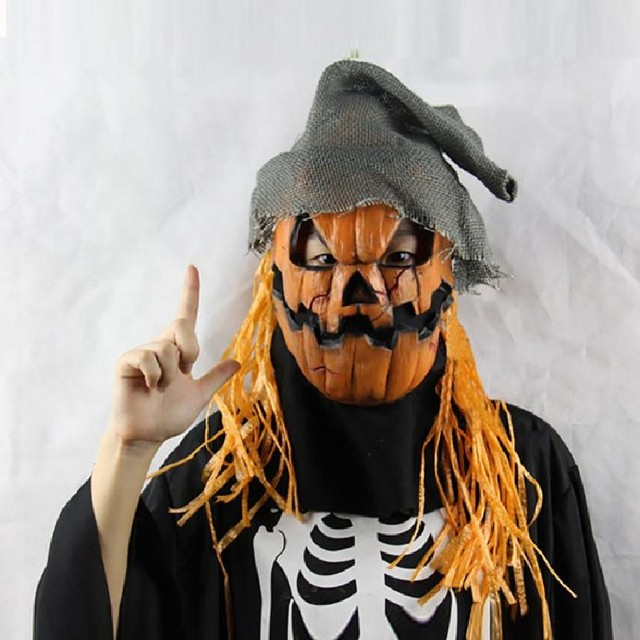 halloween mask pumpkin scarecrow creepy realistic crazy rubber super creepy scary latex party halloween costume mask