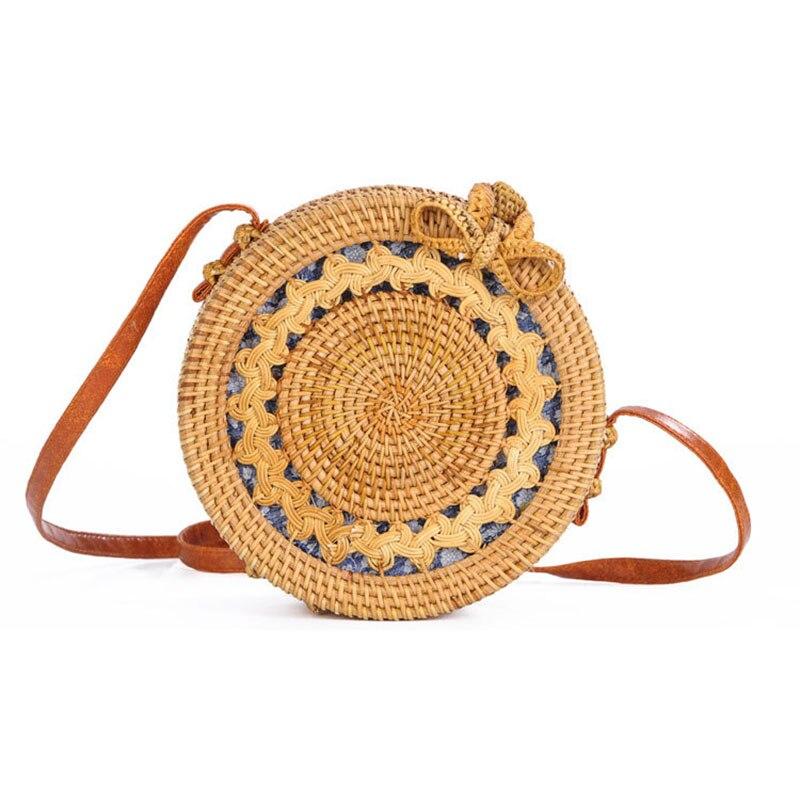 Rattan Crossbody Bags For Women 2018 Handmade Round Bow Buckle Bags Bohemian Beach Style Floral Straw Single Strap Handbags недорго, оригинальная цена