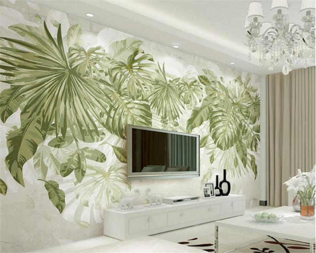 Jungle Thema Slaapkamer : Beibehang 3d behang verse groene gras bladplant jungle wind