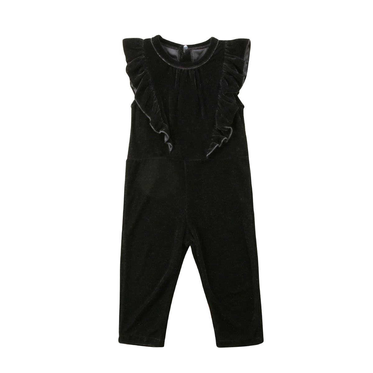 Pretty Toddler Baby Kids Girls Velvet Ruffle   Romper   Jumpsuit Long Trousers Outfits Baby Girl Black   Rompers   Clothes