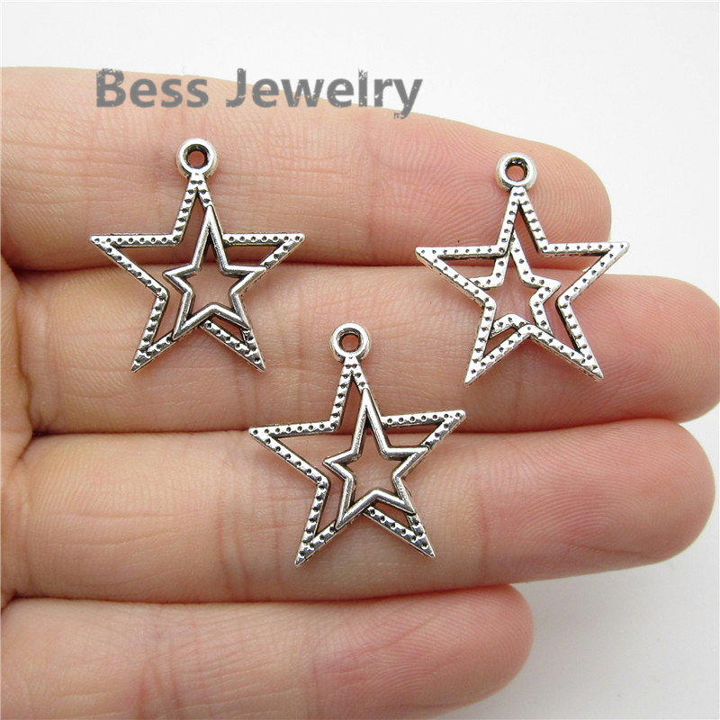 60pcs2320mm Antique Silver Star Charm Fit For Pandora Style