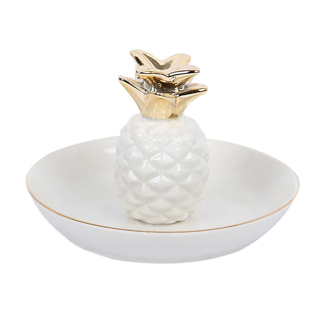 الأبيض الخزف السيراميك مع صينية أناناس طبق مفتاح الحلي حلقة حامل غرفة ديكور لوحة منصة عرض المجوهرات تنظيم علبة مجوهرات