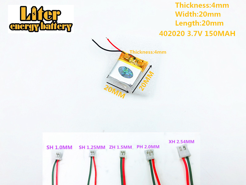 402020 3.7v 150mah rechargeable li-ion polymer Battery FOR 150MAH 3.7V 402020 PLUG GPS MP3 MP4 MP5 Lithium polymer battery