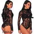 Women Long Sleeve Stretch Bodysuit Lace Sheer Leotard Body Turtleneck Party Lace V-Neck Top Nightwear Skinny Bodysuit