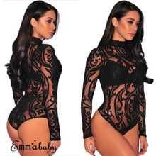 Women Long Sleeve Stretch Bodysuit Lace Sheer Leotard Body Turtleneck Party Lace