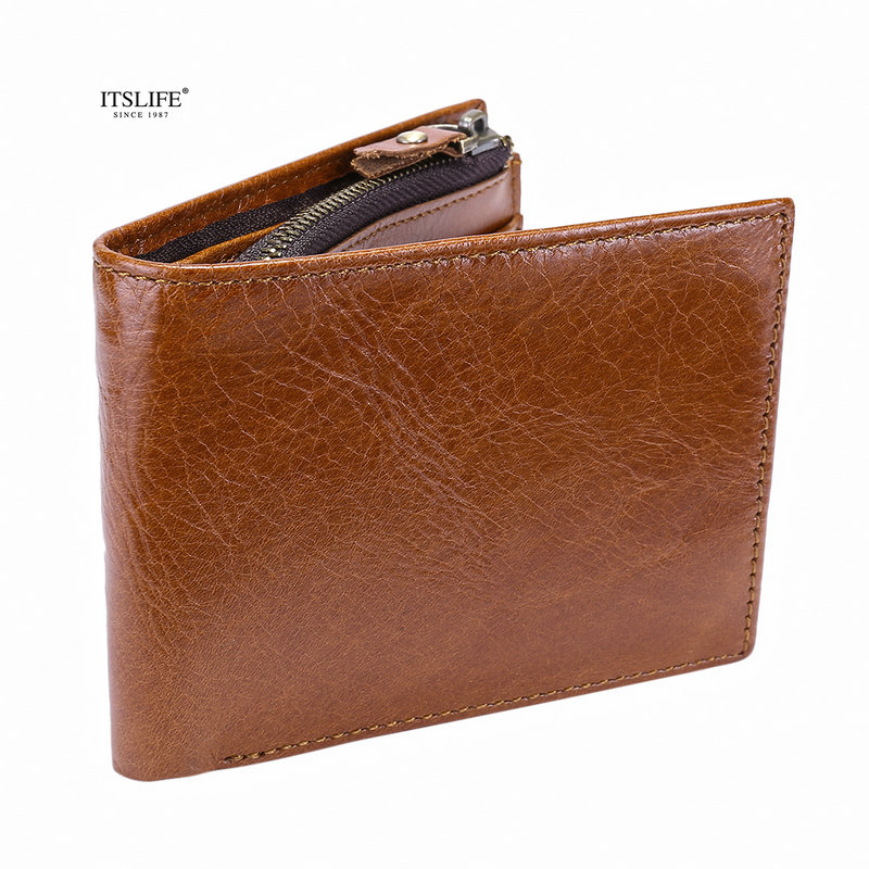 Mens 100% genuine leather wallet vintage soft cowhide zipper coin pocket compact bifold purse card holder new design hot sale mens wallets black cowhide real genuine leather wallet bifold clutch coin short purse pouch id card dollar holder for gift