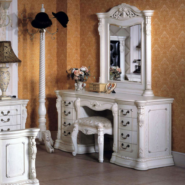 White Dresser Solid Wood Dresser With Vanity Mirror Chair In Dressers