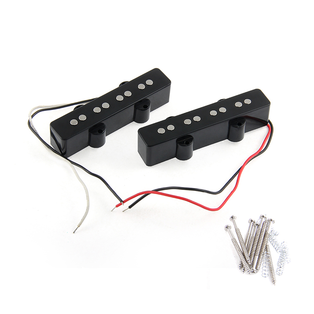 A Set of 2 Pcs Black 4 String Noiseless Pickup Set For Precision P Bridge Bass Pickup Set yibuy 2 pieces noiseless single coil pickup ceramic magnet for 5 string electric bass