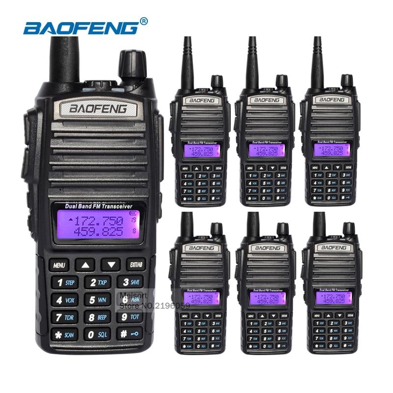 bilder für 6 stücke long range walkie talkies mit hörmuschel baofeng uv-82 dual-band vhf/uhf cb handfunkgerät communicator transceiver antenne