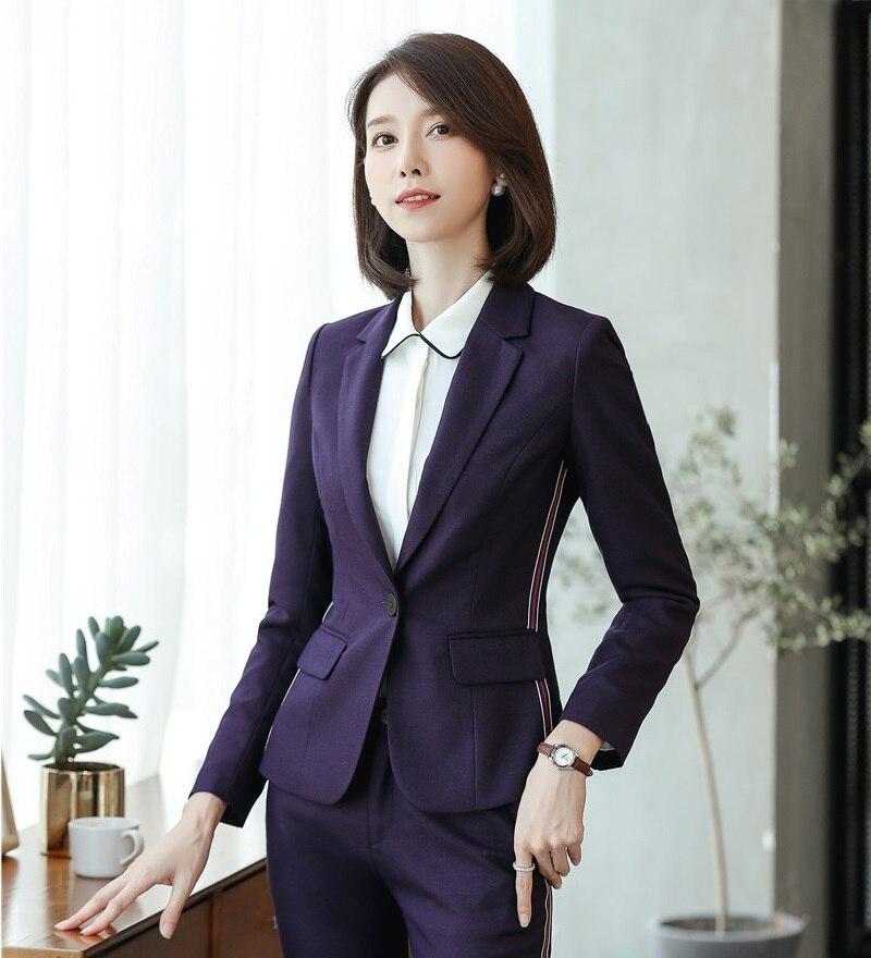 Fiber Vestes Haute Vêtements Bureau Dames Qualité Travail Pourpre Formelle Blazers Conceptions pourpre pant Styles Jacket De Femmes Uniforme Jacket pant Mode Noir And UzGSVqLMp