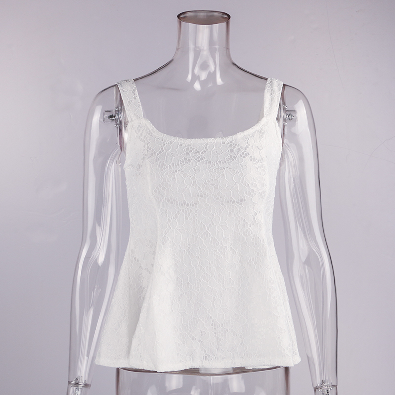 Women's Clothing Cheap Sale Floral Crochet Lace Tunic Peplum Blouse Bazk Zipper Women Sleeveless Summer Tops Blusa Cami Slim Tank Vest Blouse Shirt 6q0937