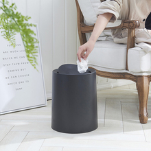 Creative Fashion Rolling Cover Type Plasic Trash Cans Double Bathroom Poubelle De Cuisine Dustbin Office Paper Basket Lixeira