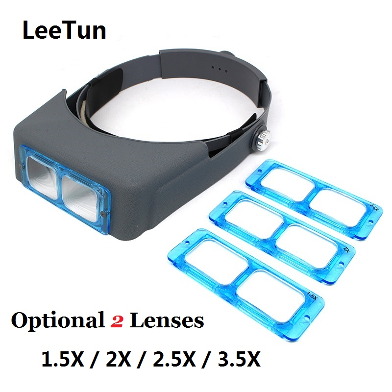 2 Lens Head Wearing Magnifier Helmet Magnifying 1.5X / 2.0X / 2.5X / 3.5X ABS Lens for Reading Repairing ...