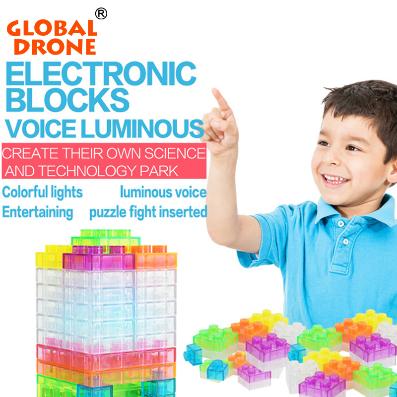 Global Drone 32Projects Voice Luminous Control Electronic Blocks DIY Kits Integrated Circuit Building Blocks Kids Toys