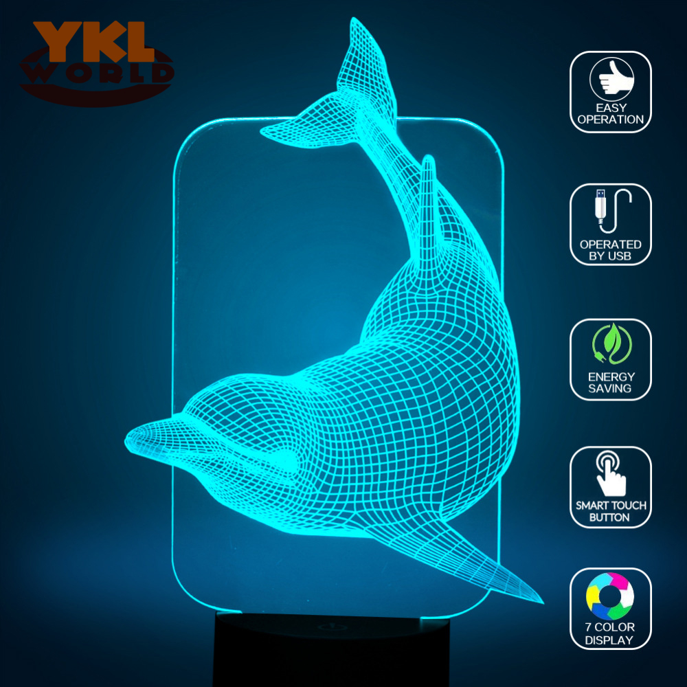Lovely 3D Led Illusion Dolphin Light Up Toy 7 Colors Changing Night Lights Children Bedroom Sleep