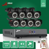 ANRAN 8CH HD 1080N AHD DVR Kit 720P 1800TV 24 IR Day Night Outdoor Waterproof Camera