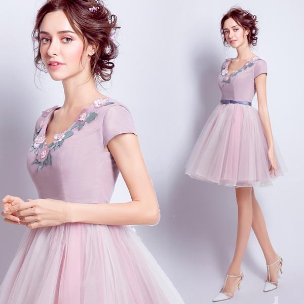 Vestidos de fiesta cortos Rosa Rosa Con Cuello En V Princesa Dulce de La Perla Romántica Barbie Flor vestido Corto de baile vestidos de Partido de Cena Del Vestido