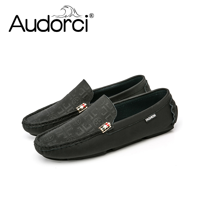 Audorci 2018 Spring Fashion Mens Light Handmade Loafers Shoes Man Casual Driving Boat Peas Shoes Size 38-44