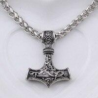Dropshipping 10pcs Thor S Hammer Mjolnir Pendant Necklace Viking Jewelry Scandinavian Norse Viking Necklace Men Gift