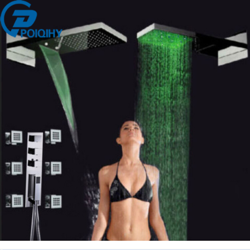 POIQIHY  Promotion Bathroom Chrome Faucet  LED Color Changing Waterfall 22 Rain Shower Head Thermostatic Valve Mixer Tap poiqihy chrome rain