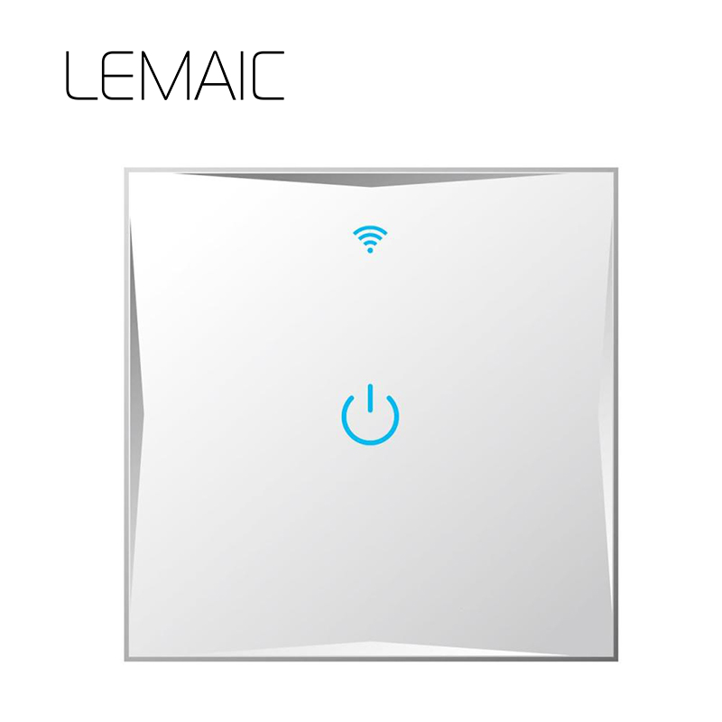 LEMAIC UK Wall Switch Touch Switch Sensor Switch 1 Gang Smart Remote Control Luxury Crystal Glass Panel Surface Waterproof