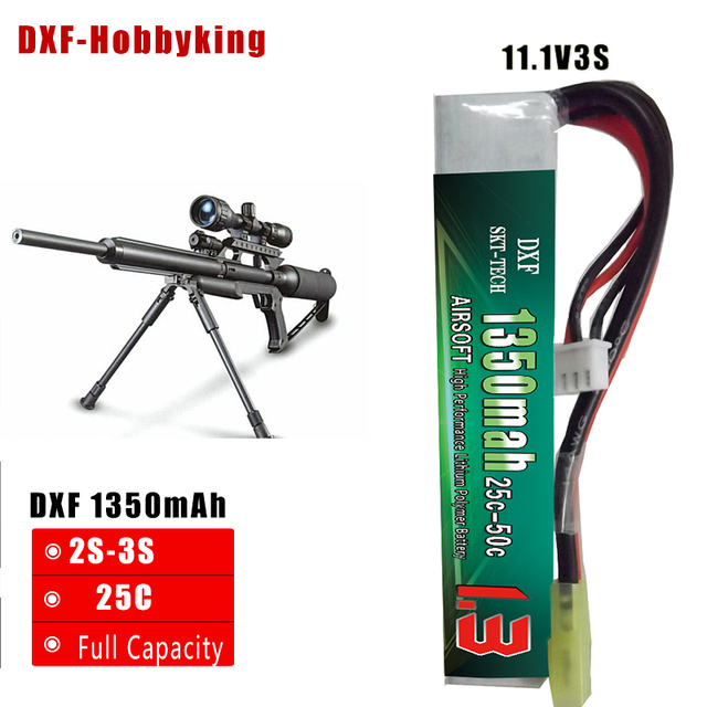 2017 DXF New Arrived Airsoft Gun Battery 11.1V 1350mAh 25C Max 50C  3S For Mini Airsoft gun RC Model Helicopter Quadcopter