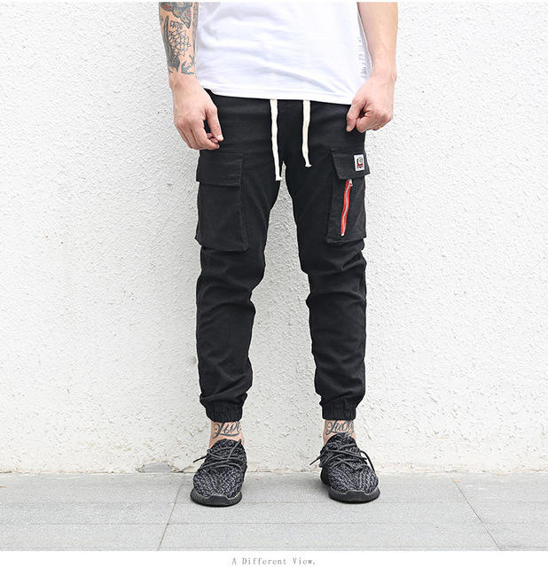 Odinokov brand 2017 elastic high quality street fashion slim high street ankle lenght  pants sweatpants jogger men pants