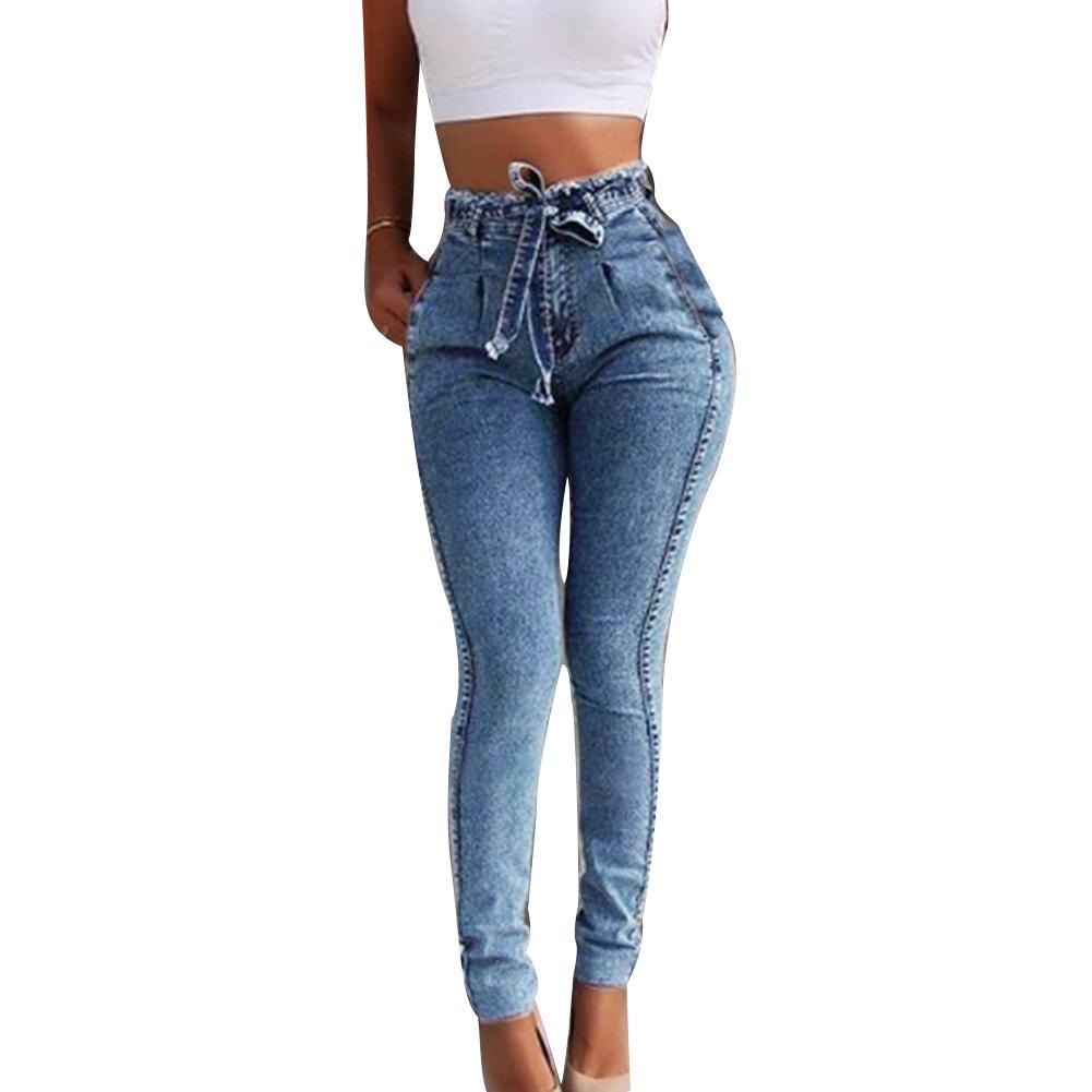 Plus Size Fashion Belted High Waist Skinny   Jeans   Women Stretch Denim Long Pants