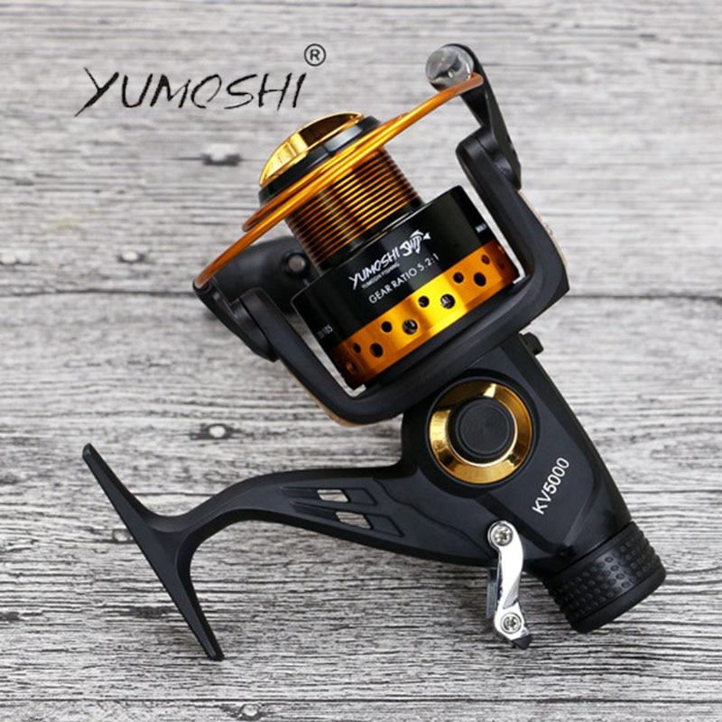 YUMOSHI 13+1BB 18KG Drag Power Fishing Reel 5.2:1 Gear Ratio Larger Spool Spinning Reel