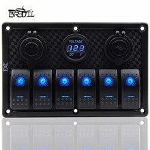 ABS 12V 24V 6 Gang Blue LED Rocker Switch Panel Circuit Breaker 3.1A Dual USB Port Waterproof RV Boat Marine Trailer