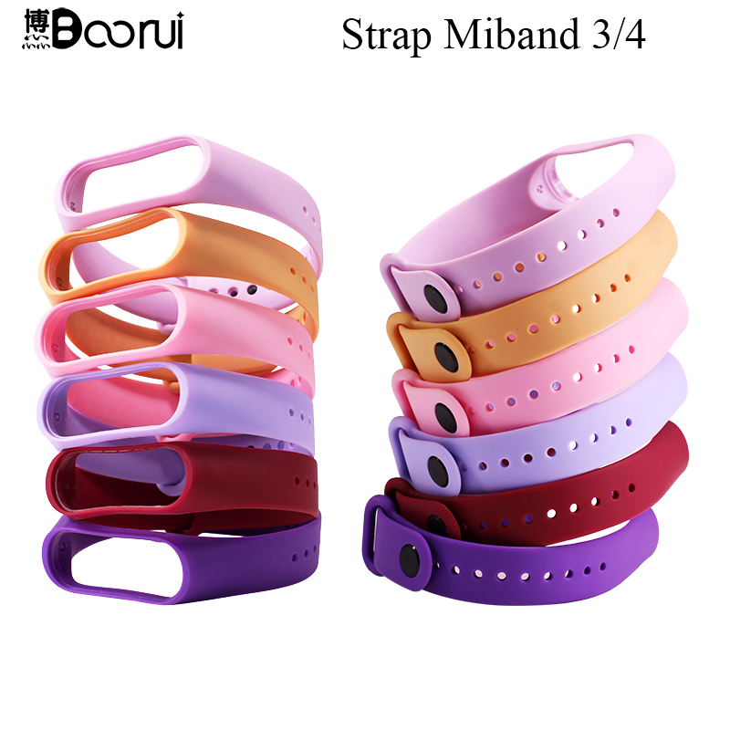 BOORUI Mi Band 4 Strap Fashional Newest Mi Band 3 Strap Silicone Waterproof Strap Replacement For Xiaomi Miband 3 4 Band